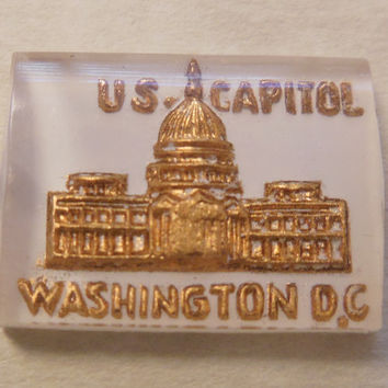 2 vintage intaglio lucite petite cabochons cabs Washington DC US Capitol reverse carved painted gold (2)