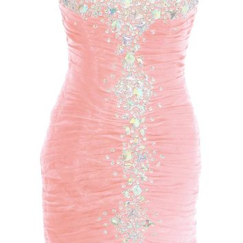 Dressystar Short Sheath Prom Evening Dresses Sparkling Party Cocktail Gowns