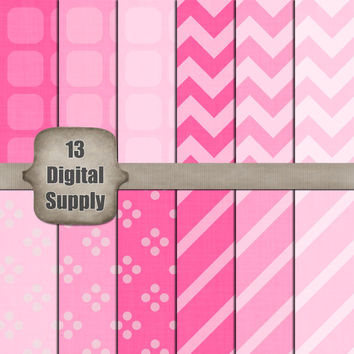 12 by 12 Digital Scrapbook Paper Pack - Baby Pink, Textured, Chevron, Stripe, Dot Patterned Background Paper - Instant Download & Printable