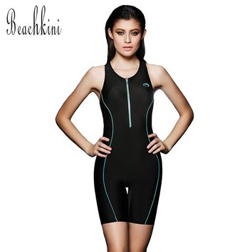 NEW Arrival Women Swimwear Sports Zipper Bodysuit Push up Bathing Suit Long BoyShorts Plus Size Racing Swimsuit