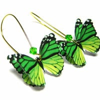 Butterfly Gold Dangle Earrings Emerald Green by SpotLightJewelry