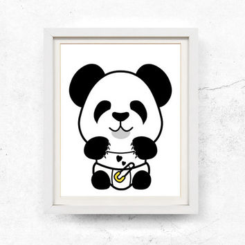 Baby panda, Nursery wall art, Printable, Black and white, Cute panda, Panda illustration, Kids wall art, Download, Panda bear, 8x10, 11x14