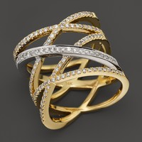 Diamond Crossover Multi-Row Band in 14K Yellow and White Gold, .60 ct. t.w.