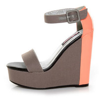 Dollhouse Fasi Grey Canvas Color Block Platform Wedges - $38.00