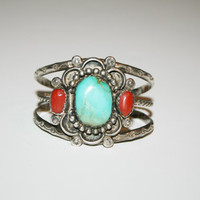 Beautiful Sterling Silver Turquoise and Coral Bracelet 6 inches - free ship in US