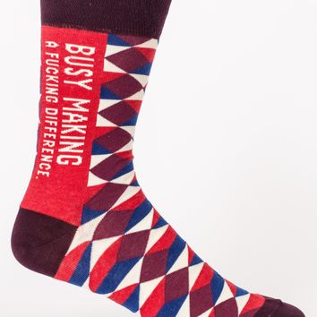 Busy Making A Fucking Difference Men's Crew Socks