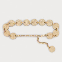 bebe Womens Hammered Discs Chain Belt Gold