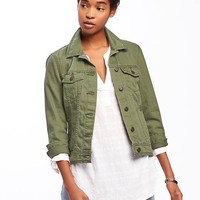 Olive-Green Denim Jacket for Women | Old Navy