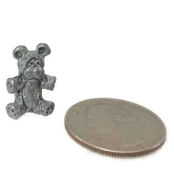 Miniature Pewter Teddy Bear, Dollhouse Miniature, Micro Small,Figurine,Silver,Tiny Animal,Collectible,Knick Knack, Shelf Display, Collection