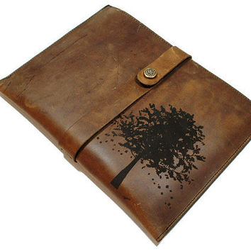 Ipad 2 Distressed Leather Sleeve Autumn Tree by joevleather