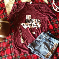 Get Rowdy Game Day Tee in Maroon
