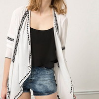 White Retro Embroidered Long-Seeve Asymmetrical Blazer