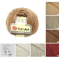 YarnArt JEANS, brown beige pattern yarn, 55% cotton yarn, crochet cotton yarn, supplies, scarf yarn, sock yarn, sweater yarn, knit yarn