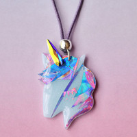 Hologram Unicorn Choker Jewelry // Magical Unicorn, Unicorn, Grunge, Pastel Grunge, Pastel Choker, Mystical, Magical Creatures, Magical Girl