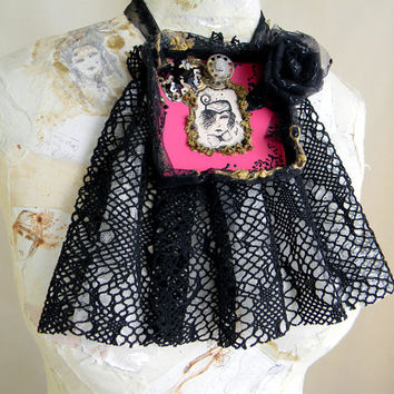 Laced Jabot Collar Statement Necklace Victorian gothic jewelry, portrait eyelet lace cameo lolita goth, fuchsia textile jewelry wearable art
