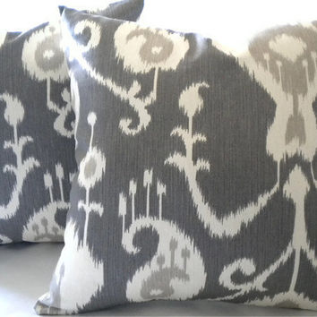"Ikat pillow covers - 18"" x 18"" - Gray, Ivory, pillow covers - Home Decor"