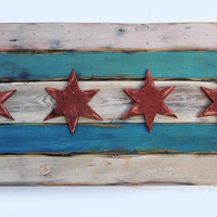 Handmade Distressed Wooden Chicago Flag by ChrisKnightCreations