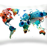 """Map of The World 6 -Colorful Abstract Art Throw Pillow 20"""" x 14"""""""