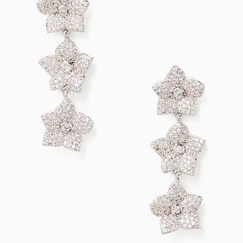 blooming pave bloom linear earrings