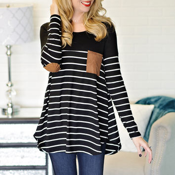 * Vanda Striped Top With Suede Accents - Black