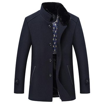 Casual Long Dark Navy Men Winter Wool Blend Coat Thicken Fur Collar