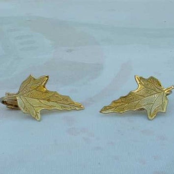 Gold Filled Embossed Maple Leaf Clip Earrings Vintage Jewelry