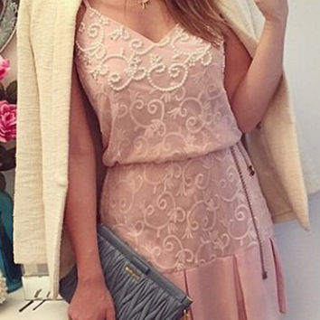Pink Lace Spaghetti Strap Dress