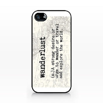 AWC-221-Wanderlust-Typo-Definition- Hard Plastic Case for iPhone 4/4S, 5/5S, Samsung s3/s4