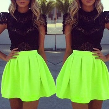 Cute black lace green two piece dress