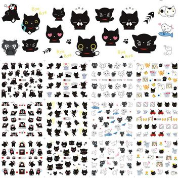 1 Sets 12 Designs Black Colors DIY Cat Mixed Nail Sticker Children Lovely Styles Water Decals Temporary Tattoos CHA1333-1344