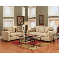 Flash Furniture Exceptional Designs Living Room Set In Vivid Beige Fabric