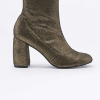 Kourtney Stretchy Gold Lurex Ankle Boots - Urban Outfitters