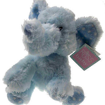 "8"" Blue Elliefumps Elephant Russ Baby Boy Soft Plush Toy Stuffed Animal Fuzzy"