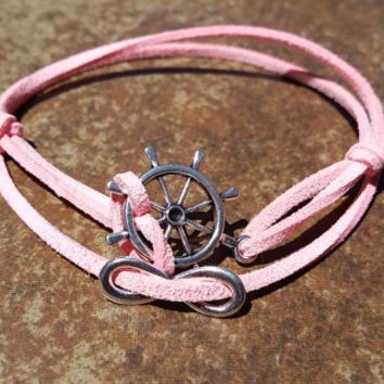 Pink Leather Silver Infinity Rudder Bracelet Anklet Charm Men Women Unisex Fashion New Love Cute Diy Friendship