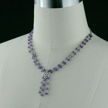Necklace Amethyst lariat handmade purple bridesmaids gifts Free US Shipping handmade Anni Designs