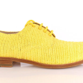 Dolce & Gabbana Yellow Raffia Woven Oxfords Broques Shoes