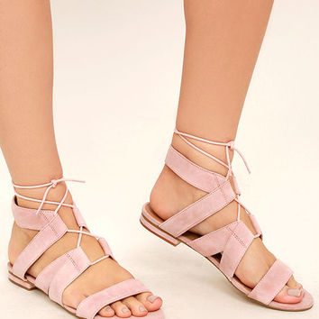 Steve Madden August Light Pink Suede Leather Lace-Up Sandals
