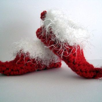 Crochet Elf Slippers Baby Booties Christmas Booties Santa Booties Elf Booties Boy Girl Newborn Infant Photo Prop Red White