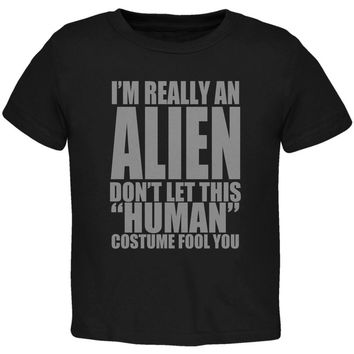 Halloween Human Alien Costume Toddler T Shirt