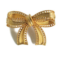 Vintage Bow Brooch Christmas Bow Brooch  In Gold Tone