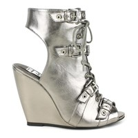 Fahrenheit Rashida-08 Lace-up wedge sandals in Pewter @ ippolitan.com