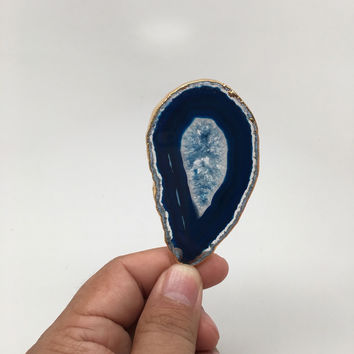 108 cts Blue Agate Druzy Slice Geode Pendant Gold Plated From Brazil, Bp1042