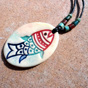 Boho Colorful Pottery Fish Necklace, Earthy Ceramic Jewelry, Blue, Turquoise, Red