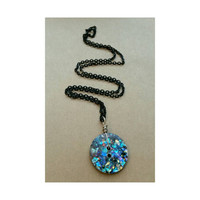 Vintage Disco Glitter Button Necklace- extra sparkly 80s