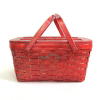 vintage Wood lattice Slat Picnic Basket painted RED