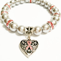 Breast Cancer Awareness Pink Ribbon Bracelet /  Silver Pearl Breast Cancer Awareness Pink Ribbon Heart Charm Bracelet