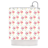 "Laura Escalante ""Cross Stitch Flowers"" White Pink Shower Curtain"