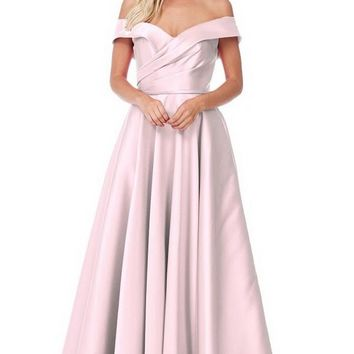 Off Shoulder A-Line Long Evening Gown
