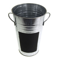 Galvanized Metal Bucket with Chalkboard Label, 7-Inch, Silver