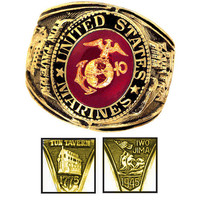 Official US Marines Deluxe Engraved Gold Color Ring -Size